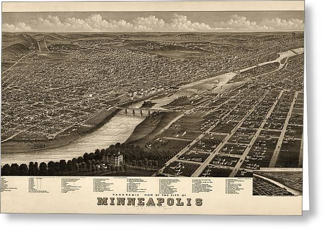 View Drawings Greeting Cards - Antique Map of Minneapolis Minnesota by A. Ruger - 1879 Greeting Card by Blue Monocle