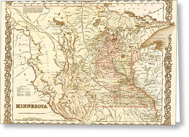 Old Country Roads Drawings Greeting Cards - Antique Map of Minnesota 1855 Greeting Card by Mountain Dreams