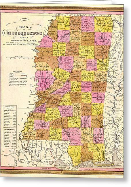 Illustrative Greeting Cards - Antique Map of Mississippi 1846 Greeting Card by Mountain Dreams