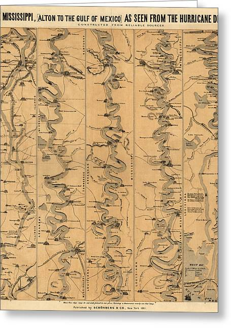 Mississippi Map Greeting Cards - Antique Map of Mississippi River by Schonberg and Co. - 1861 Greeting Card by Blue Monocle
