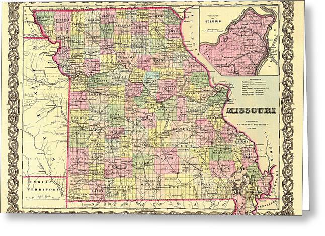 Illustrative Greeting Cards - Antique Map of Missouri 1855 Greeting Card by Mountain Dreams