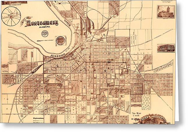 Alabama Drawings Greeting Cards - Antique Map of Montgomery Alabama 1899 Greeting Card by Mountain Dreams