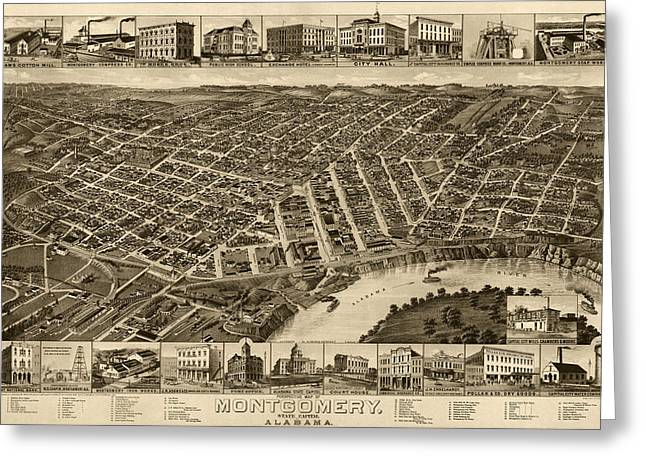 Alabama Drawings Greeting Cards - Antique Map of Montgomery Alabama by H. Wellge - 1887 Greeting Card by Blue Monocle