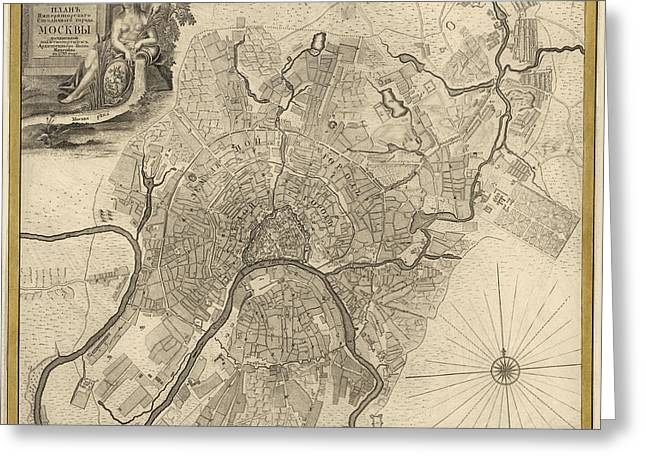Antique Map Of Moscow Russia By Ivan Fedorovich Michurin - 1745 Greeting Card by Blue Monocle