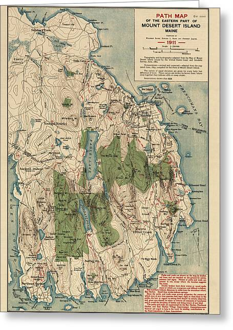 Mt Drawings Greeting Cards - Antique Map of Mount Desert Island - Acadia National Park - by Waldron Bates - 1911 Greeting Card by Blue Monocle