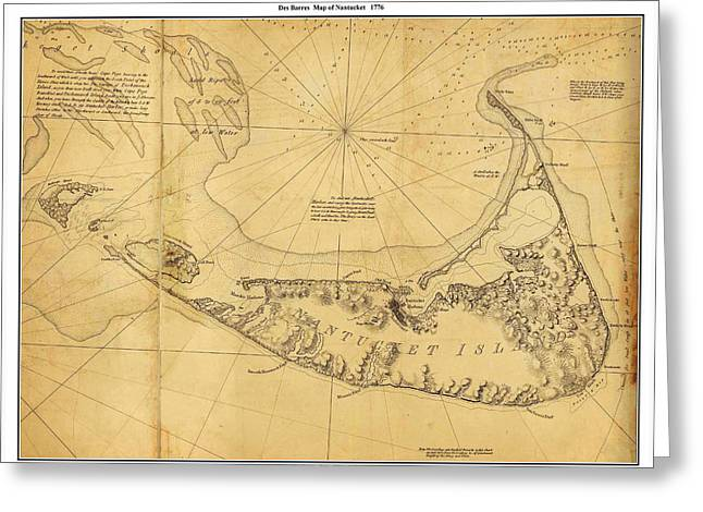 Photographs Drawings Greeting Cards - Antique Map of Nantucket Greeting Card by Celestial Images