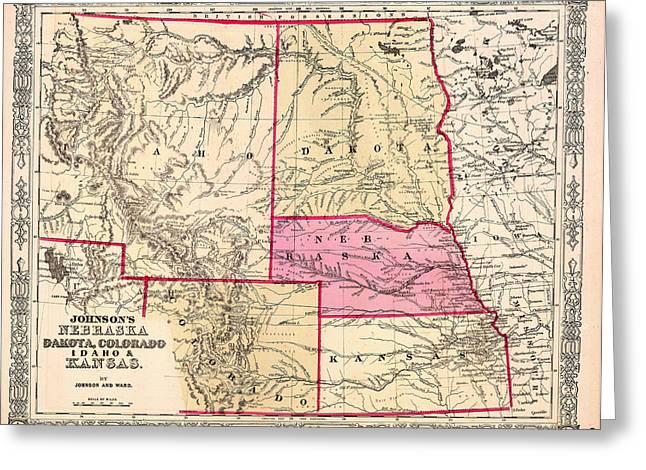 Kansas City Drawings Greeting Cards - Antique Map of Nebraska Dakota Colorado Idaho and Kansas 1863 Greeting Card by Mountain Dreams