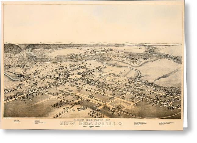 Featured Drawings Greeting Cards - Antique Map of New Braunfels Texas 1881 Greeting Card by Mountain Dreams