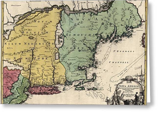 England Map Greeting Cards - Antique Map of New England by Johann Baptist Homann - circa 1760 Greeting Card by Blue Monocle