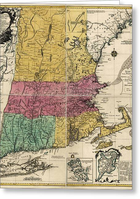 England Map Greeting Cards - Antique Map of New England by Johann Michael Probst - 1777 Greeting Card by Blue Monocle