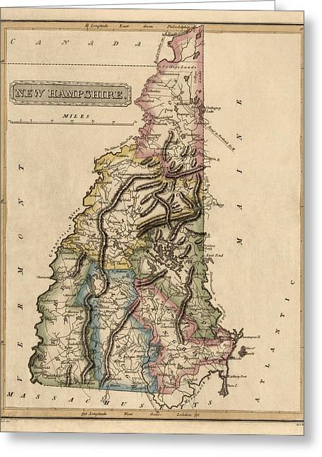 New Hampshire Greeting Cards - Antique Map of New Hampshire by Fielding Lucas - circa 1817 Greeting Card by Blue Monocle
