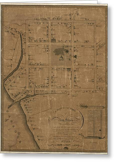 Antique Map Of New Haven By William Lyon - 1806 Greeting Card by Blue Monocle