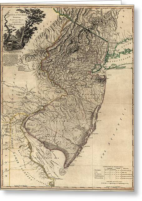 William Drawings Greeting Cards - Antique Map of New Jersey by William Faden - 1778 Greeting Card by Blue Monocle
