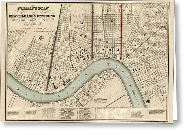 Louisiana Greeting Cards - Antique Map of New Orleans by Balduin Mollhausen - 1845 Greeting Card by Blue Monocle
