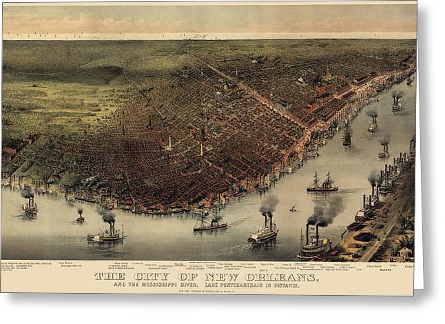 New Drawings Greeting Cards - Antique Map of New Orleans by Currier and Ives - circa 1885 Greeting Card by Blue Monocle