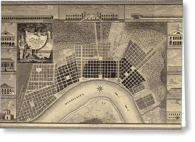 New Drawings Greeting Cards - Antique Map of New Orleans by I. Tanesse - 1817 Greeting Card by Blue Monocle