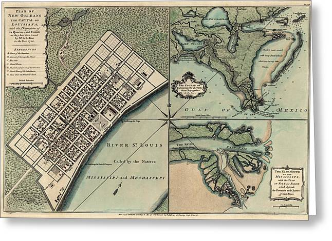 Louisiana Greeting Cards - Antique Map of New Orleans by Thomas Jefferys - 1759 Greeting Card by Blue Monocle