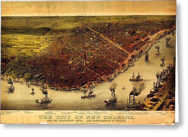 Currier Paintings Greeting Cards - Antique Map of New Orleans Greeting Card by Currier and Ives