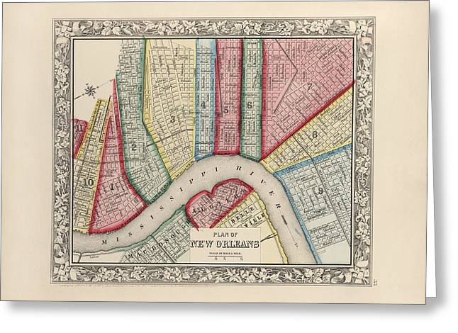 New Drawings Greeting Cards - Antique Map of New Orleans Louisiana by Samuel Augustus Mitchell - 1863 Greeting Card by Blue Monocle