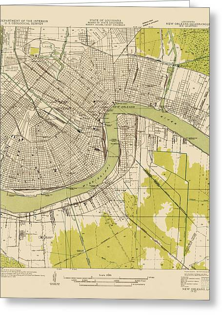 Geological Greeting Cards - Antique Map of New Orleans - USGS Topographic Map - 1932 Greeting Card by Blue Monocle