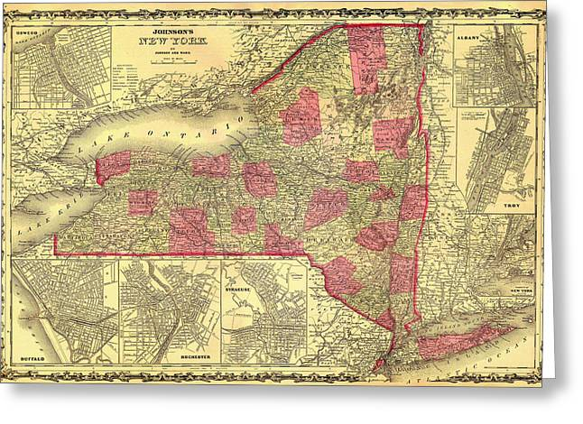 Illustrative Greeting Cards - Antique Map of New York 1862 Greeting Card by Mountain Dreams