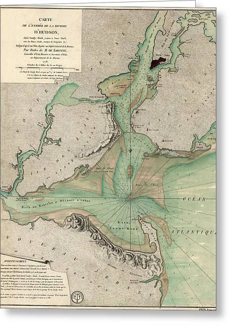 New Drawings Greeting Cards - Antique Map of New York City - 1778 Greeting Card by Blue Monocle