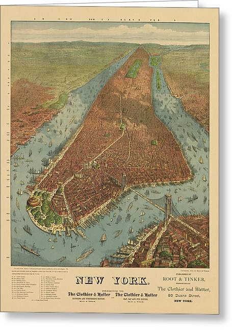 William Drawings Greeting Cards - Antique Map of New York City - 1879 Greeting Card by Blue Monocle