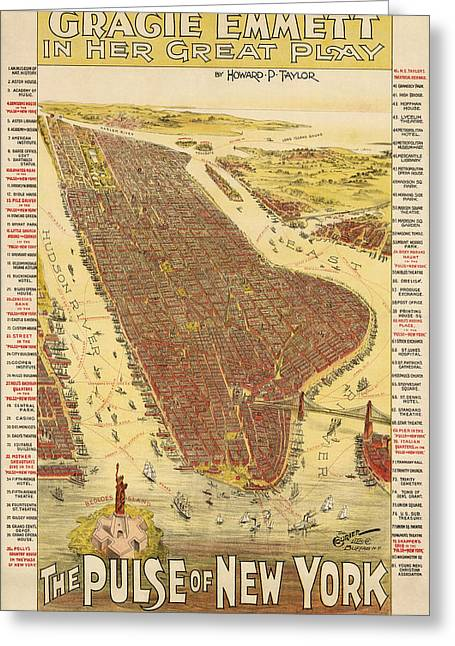 New York City Drawings Greeting Cards - Antique Map of New York City - 1891 Greeting Card by Blue Monocle