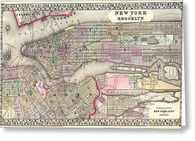 Antique Map Of New York City And Brooklyn 1867 Greeting Card by Mountain Dreams