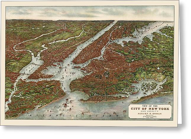 New York City Drawings Greeting Cards - Antique Map of New York City by August R. Ohman - 1907 Greeting Card by Blue Monocle