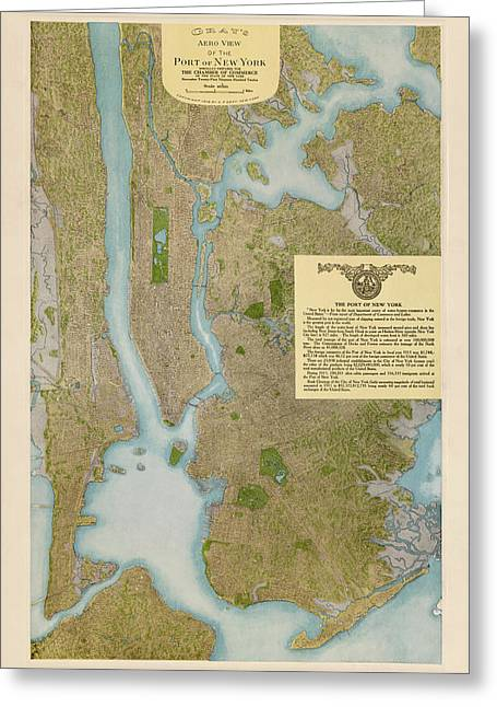 New York City Drawings Greeting Cards - Antique Map of New York City by C. P. Gray - 1913 Greeting Card by Blue Monocle