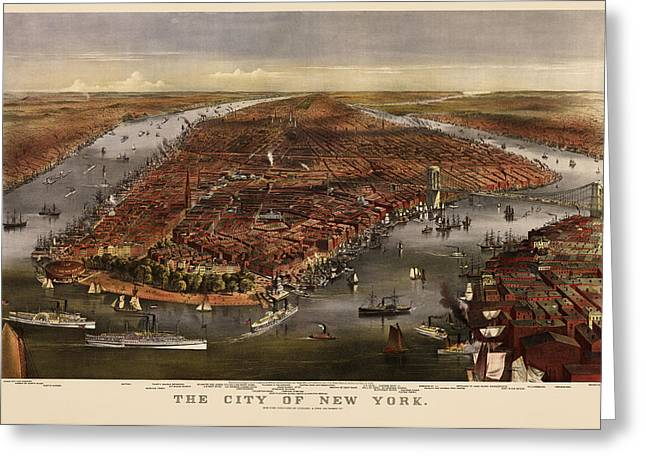 New York City Drawings Greeting Cards - Antique Map of New York City by Currier and Ives - 1870 Greeting Card by Blue Monocle