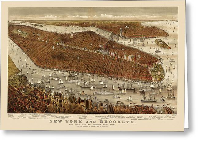 New York City Drawings Greeting Cards - Antique Map of New York City by Currier and Ives - circa 1877 Greeting Card by Blue Monocle