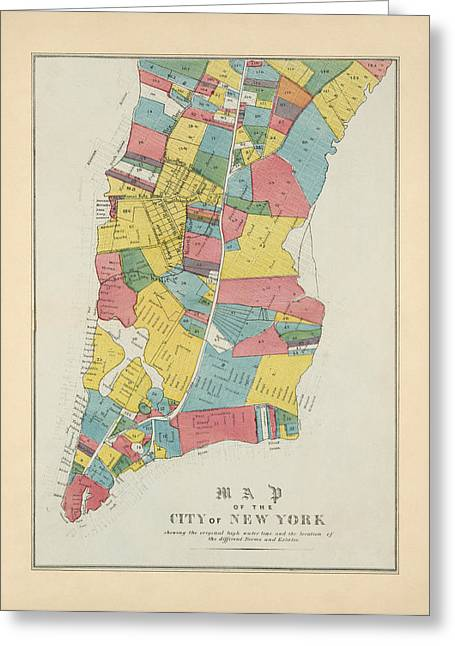 New York City Drawings Greeting Cards - Antique Map of New York City by George Hayward - 1852 Greeting Card by Blue Monocle