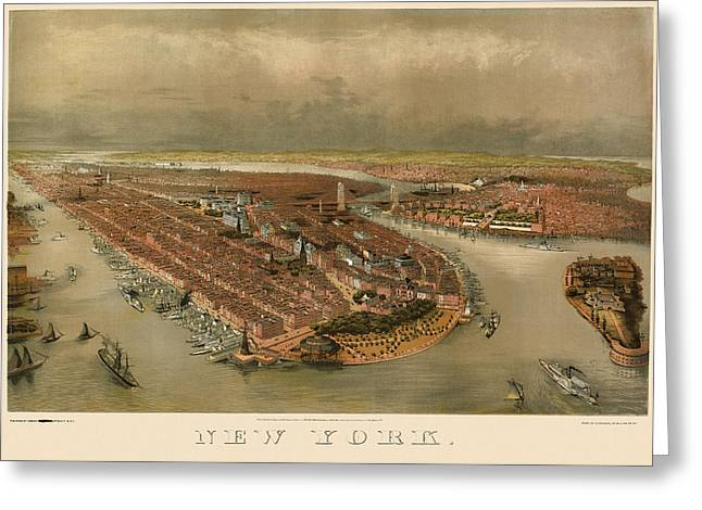 New Drawings Greeting Cards - Antique Map of New York City by George Schlegel - circa 1874 Greeting Card by Blue Monocle