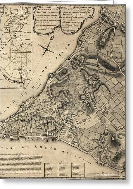 New York City Drawings Greeting Cards - Antique Map of New York City by John Montresor - 1766 Greeting Card by Blue Monocle