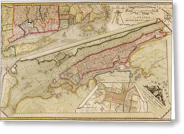 New York City Drawings Greeting Cards - Antique Map of New York City by John Randel - 1821 Greeting Card by Blue Monocle