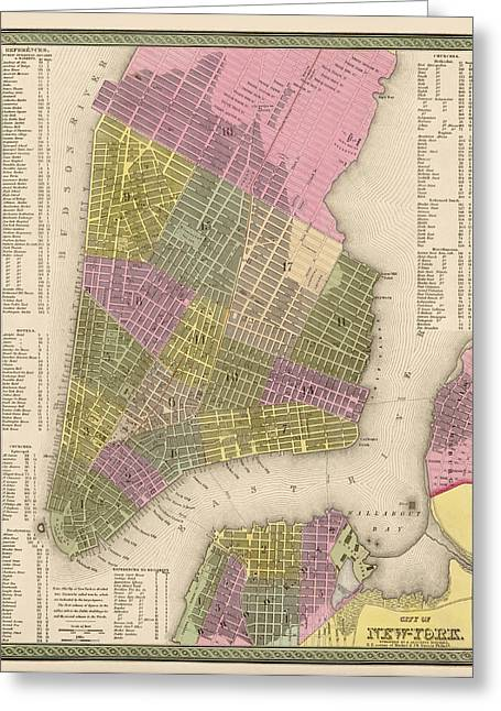 New York City Drawings Greeting Cards - Antique Map of New York City by Samuel Augustus Mitchell - 1849 Greeting Card by Blue Monocle