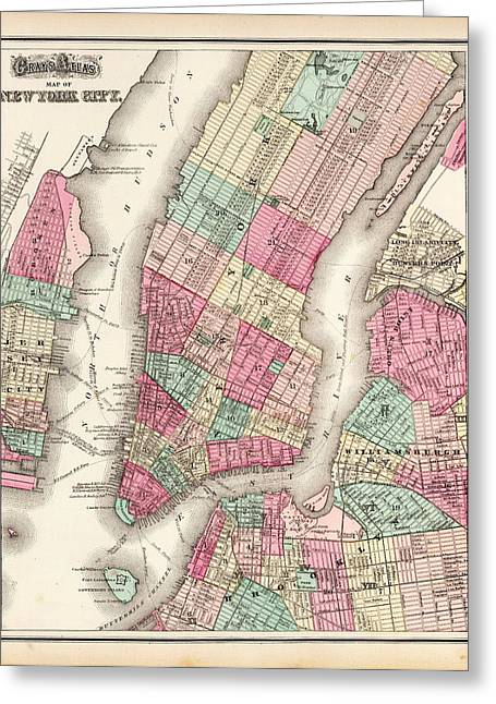 Currier Paintings Greeting Cards - Antique Map Of New York City Greeting Card by O W  Gray