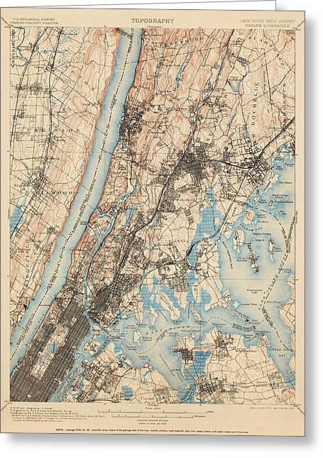 New York City Drawings Greeting Cards - Antique Map of New York City - USGS Topographic Map - 1900 Greeting Card by Blue Monocle
