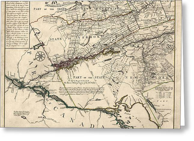 Champlain Greeting Cards - Antique Map of New York State and Vermont by Covens et Mortier - 1780 Greeting Card by Blue Monocle
