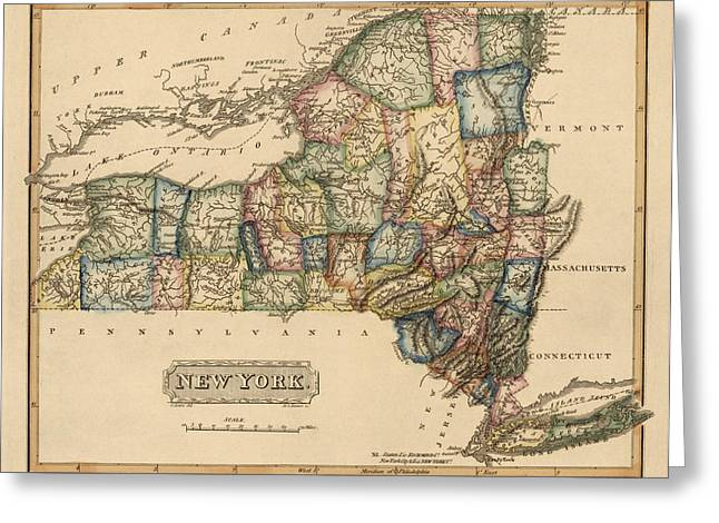 New York New York Greeting Cards - Antique Map of New York State by Fielding Lucas - circa 1817 Greeting Card by Blue Monocle