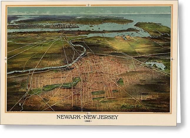 Shepherds Drawings Greeting Cards - Antique Map of Newark New Jersey by T. J. Shepherd Landis - 1916 Greeting Card by Blue Monocle