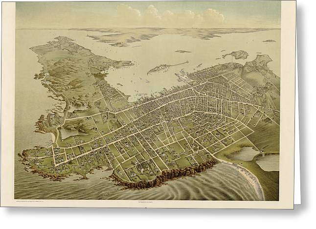Newport Greeting Cards - Antique Map of Newport Rhode Island by Galt and Hoy - 1878 Greeting Card by Blue Monocle