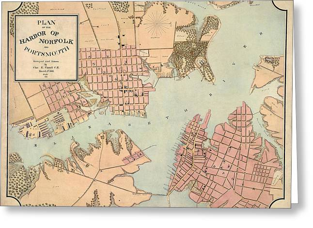 Norfolk Greeting Cards - Antique Map of Norfolk and Portsmouth Virginia by Charles E. Cassell - 1861 Greeting Card by Blue Monocle