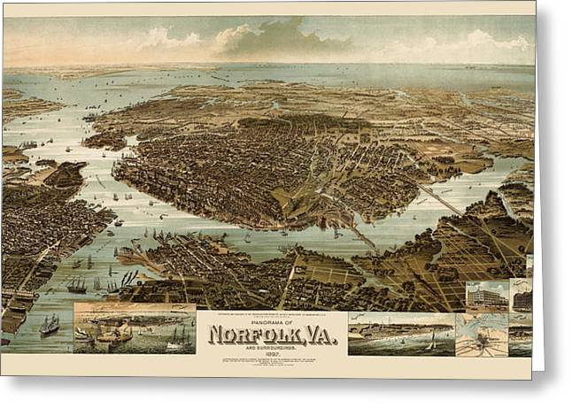 Norfolk Greeting Cards - Antique Map of Norfolk and Portsmouth Virginia by H. Wellge - 1892 Greeting Card by Blue Monocle