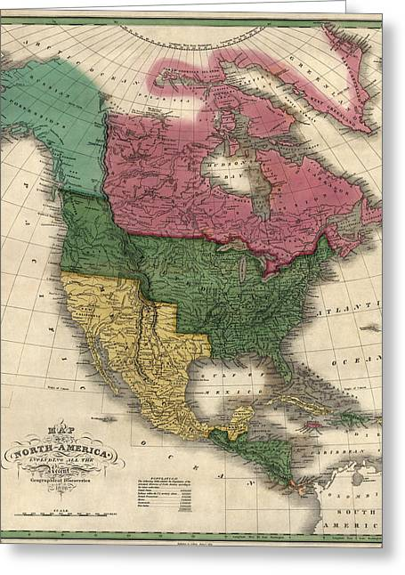 Map Of Canada Greeting Cards - Antique Map of North America by D. H. Vance - 1826 Greeting Card by Blue Monocle