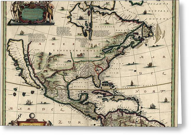 North Drawings Greeting Cards - Antique Map of North America by Jan Jansson - circa 1652 Greeting Card by Blue Monocle