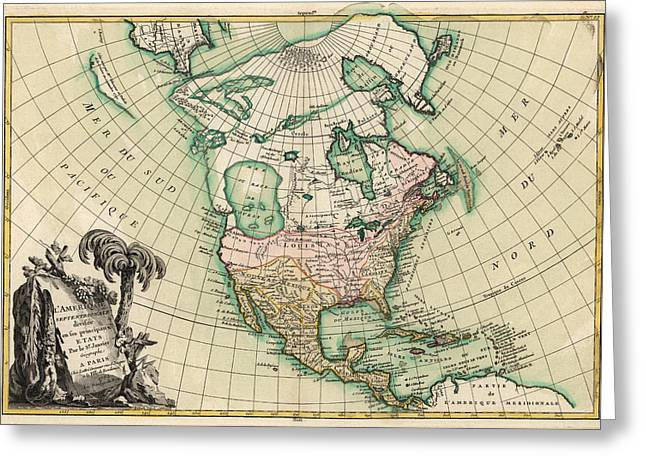 North Drawings Greeting Cards - Antique Map of North America by Jean Janvier - 1762 Greeting Card by Blue Monocle