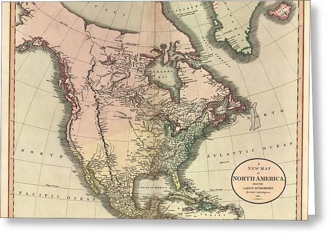 Map Of Canada Greeting Cards - Antique Map of North America by John Cary - 1811 Greeting Card by Blue Monocle